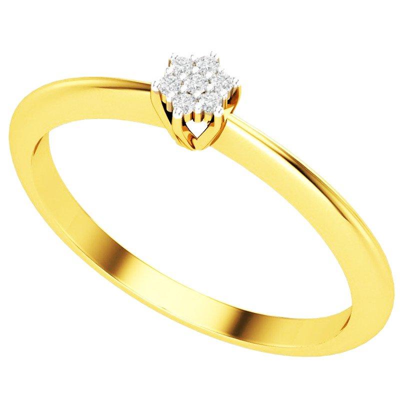 Pierścionek Zaręczynowy Złoty Z Brylantami 375 żółte Złoto
