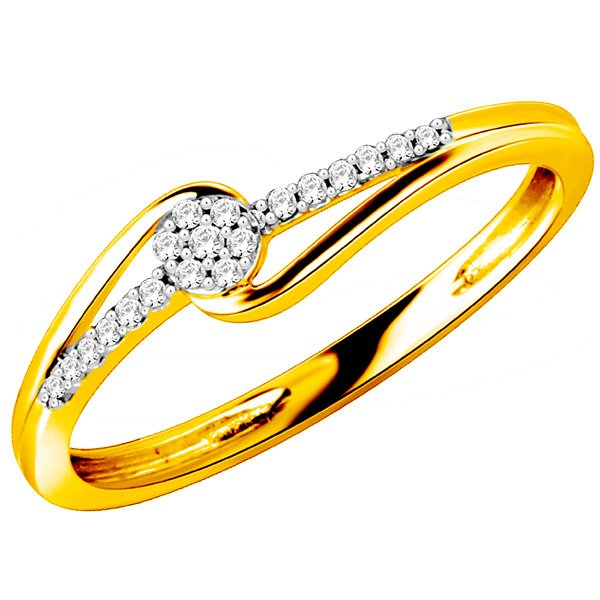 Złoty Pierścionek Zaręczynowy Z Brylantami 010ct