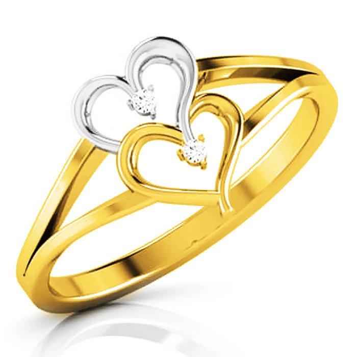 Pierścionek Złoty Dwa Serca Dla Zakochanych