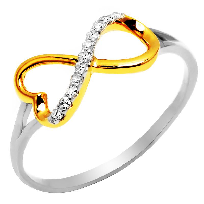Pierścionek Białe Złoto Brylantami Nieskończoność