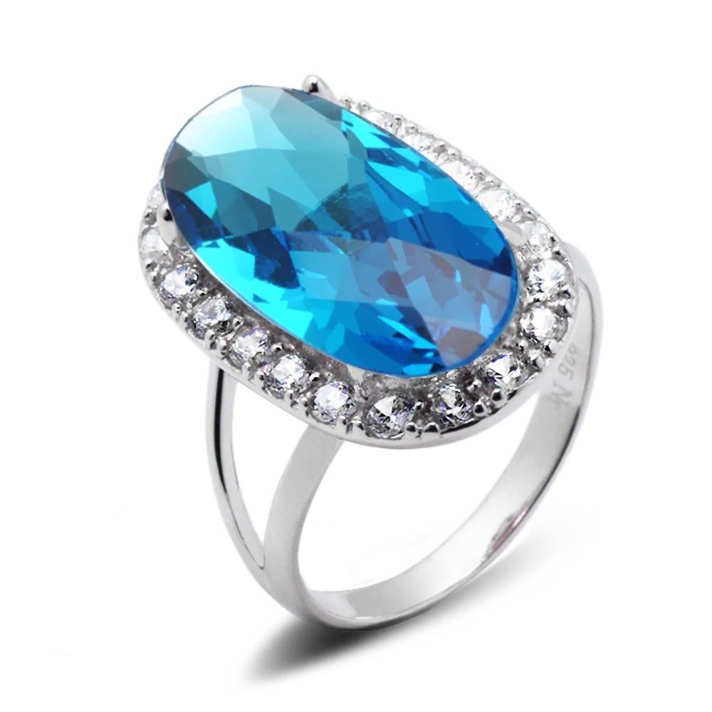 56cb2a1e26379f Srebrny Pierścionek z Dużym Błękitnym Kamieniem Błękitny